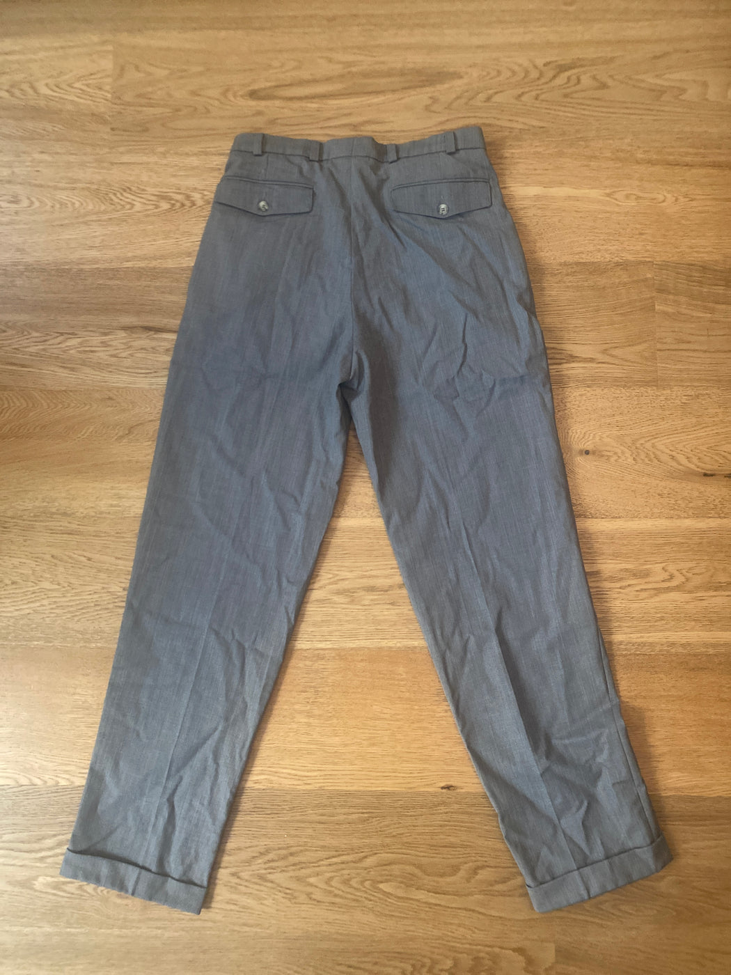 Concrete Wool Mix Vintage High Waist Pants Pleated