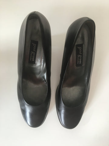 Black Leather Vintage Pumps Heels  Size 42