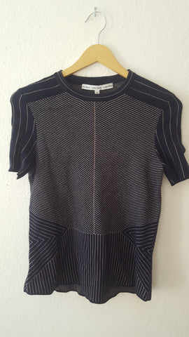 Black-Gold Cotton Vintage Sweater short sleeve  Size S/M