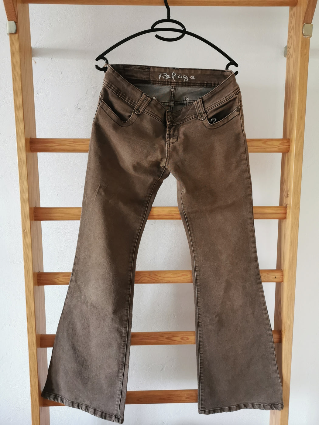 Brown Cotton Mix Vintage Bell-bottom Jeans