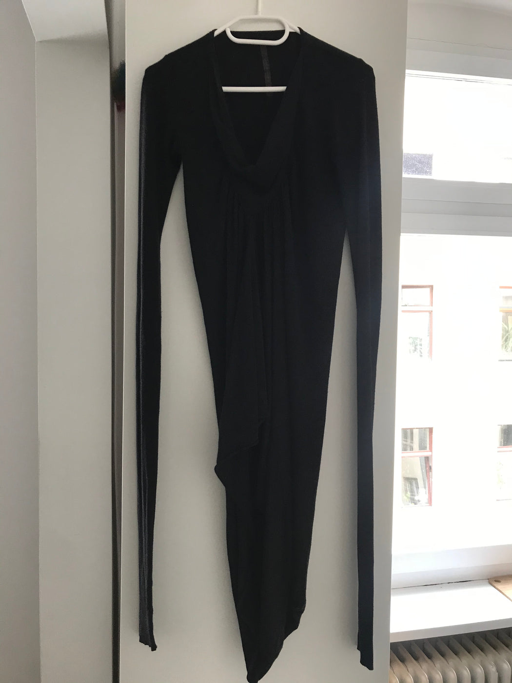 Black Cotton Rick Owens Lilies Jersey Dress Asymetric Size M/L