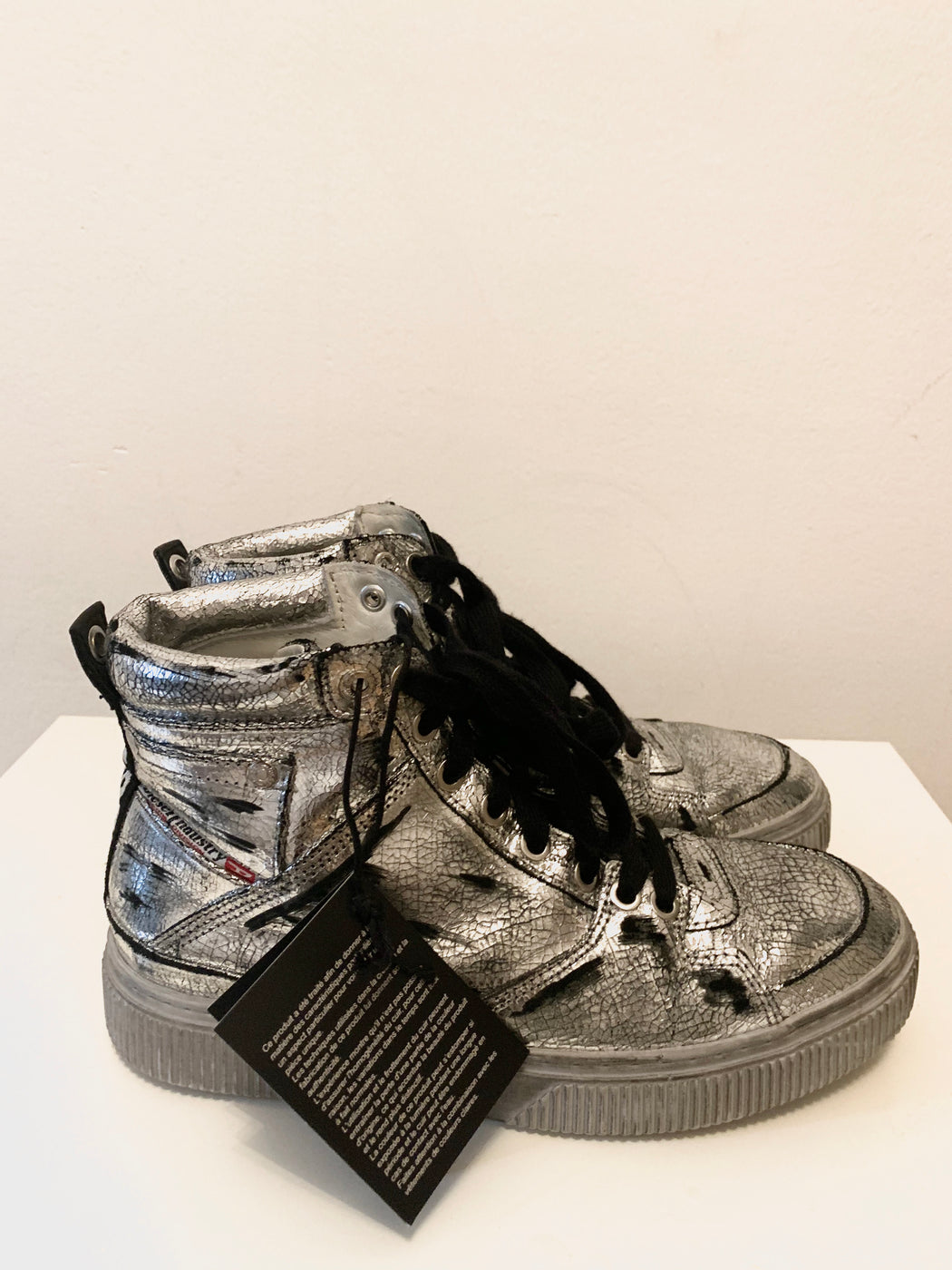 Silver Leather/synthetic Mix Diesel High-tops  Size 39