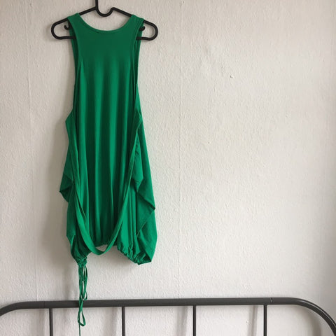 Green Cotton Y-3 Midi Dress Draw String Convertible