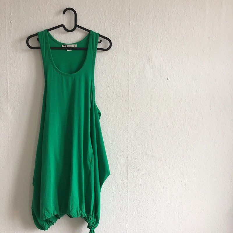 Green Cotton Y-3 Midi Dress Draw String Convertible Size L/XL