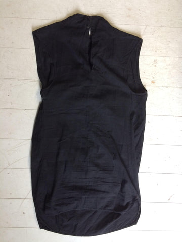 Black Cotton Damir Doma Silent Wrap Dress Sleeveless Wraparound Size S/M