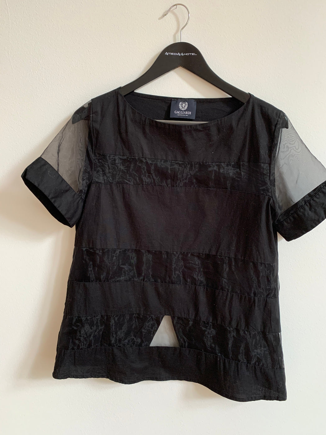 Black Cotton / Acrylic Mix Vintage Top short sleeve Conceptual Detail Sheer