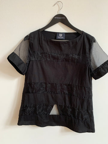 Black Cotton / Acrylic Mix Vintage Top short sleeve Conceptual Detail Sheer Size S/M