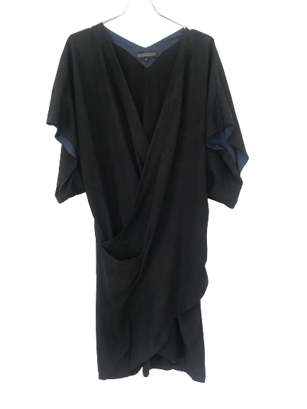 Black Polyester / Rayon Digitaria Wrap Dress Drapey Wraparound
