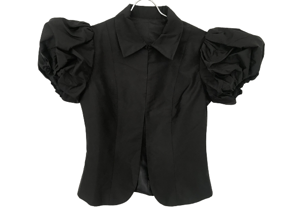 Black Polyester / Rayon Vintage Bolero Sleeve Detail Shoulder Detail