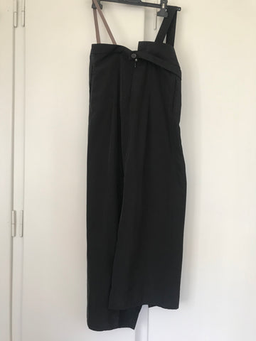 Black Polyester Mix Digitaria Maxi Skirt Conceptual Detail Asymetric