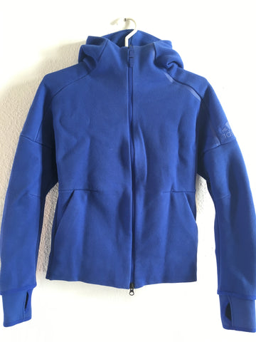 Royal Blue Polyester Modern Adidas Zip Jacket Sleeve Detail Size XS/S