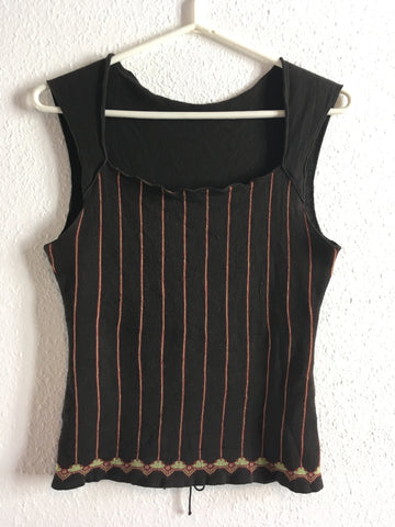 Black-Dark Color Mix Wool Mix Vintage Knit Top Adjustable Feature Sleeveless Size XS/S