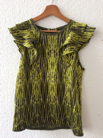Black-Yellow Polyester Modern Dkny Blouse Ruffled Sleeveless Size XXS/XS