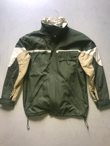 White-Hunter Green Polyester Modern Vintage Jacket Pocket Detail Size S/M