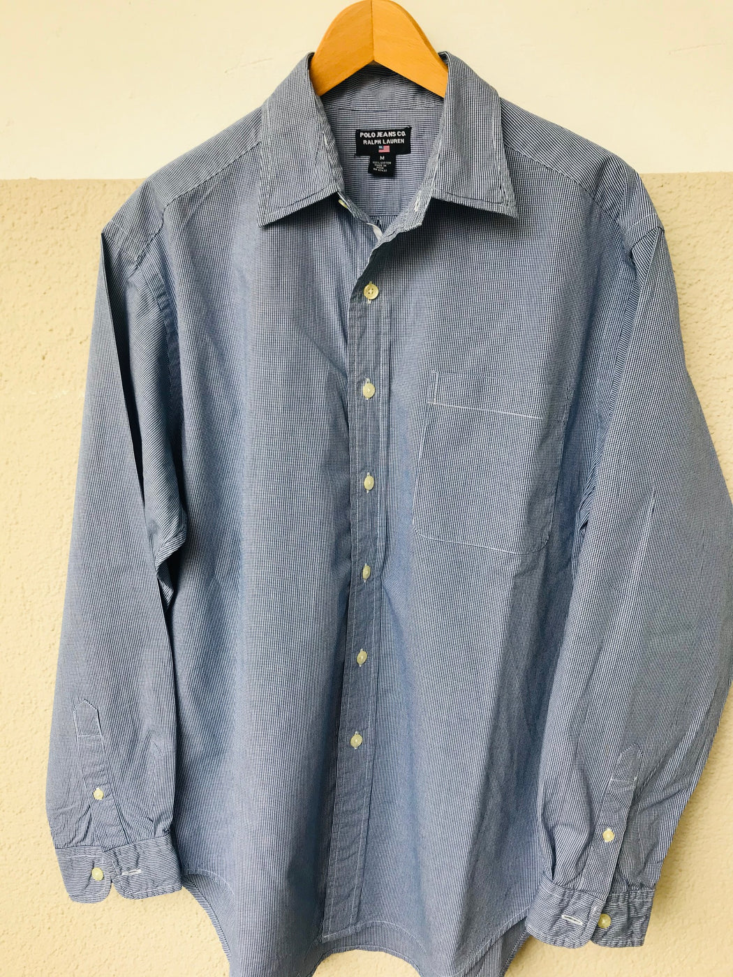 Dark Blue-White Cotton Polo Ralph Lauren Shirt  Size M/L