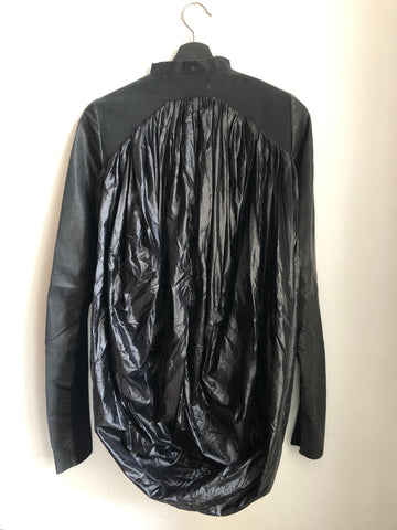 Black Leather/synthetic Mix Rick Owens Jacket Conceptual Detail Collar Detail Size XS/S