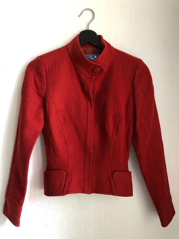 Red Wool Thierry Mugler Jacket Tapered Pocket Detail Size XS/S
