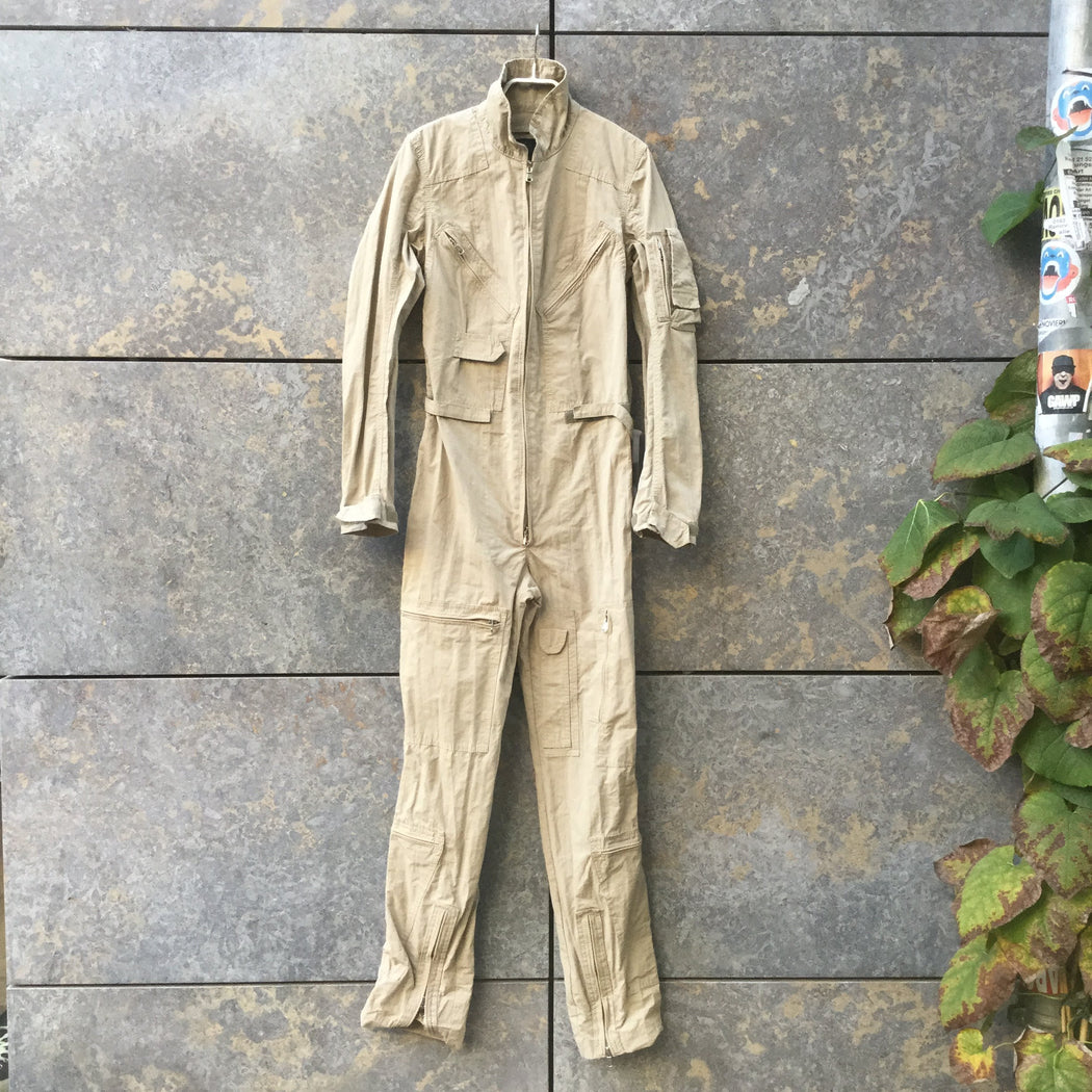 Beige Synthetic Vintage Romper Zippered Size S/M