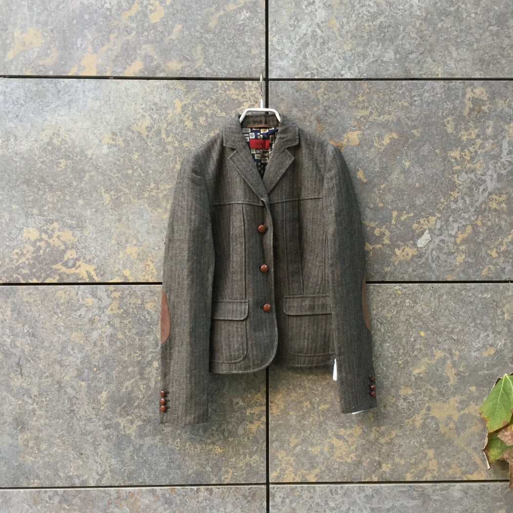 Brown Tone Mix Linen Mix HUGO Boss Red Label Blazer-Jacket Elbow Patch Size M/L