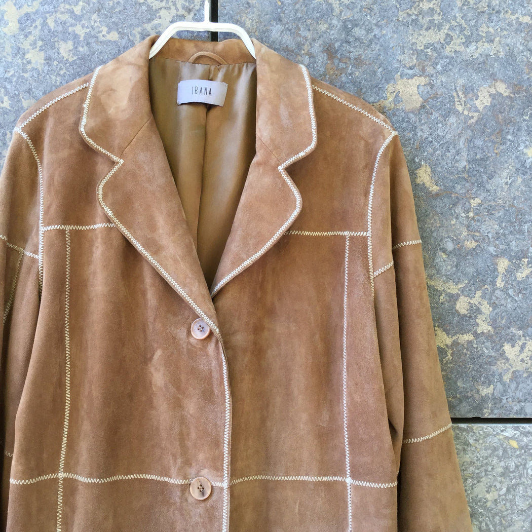 Tan Leather Contemporary Light Coat Extended Size Xs/S