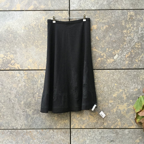 Black Wood Contemporary Designer Maxi Skirt  Size 32/33