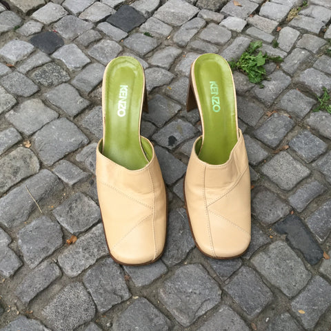 Nude White Leather Kenzo Mules  Size 7.5