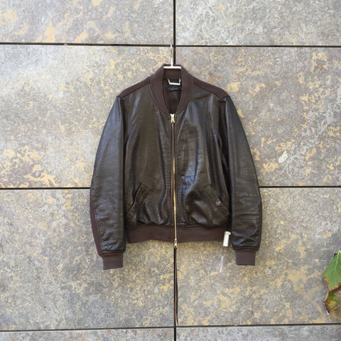 Brown Cotton / Leather Mix Contemporary Designer Varsity Jacket Fringy Size S/M