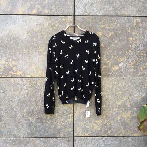 Black-White Wool Comme des Garcons Sweater V-Neck Size L/Xl