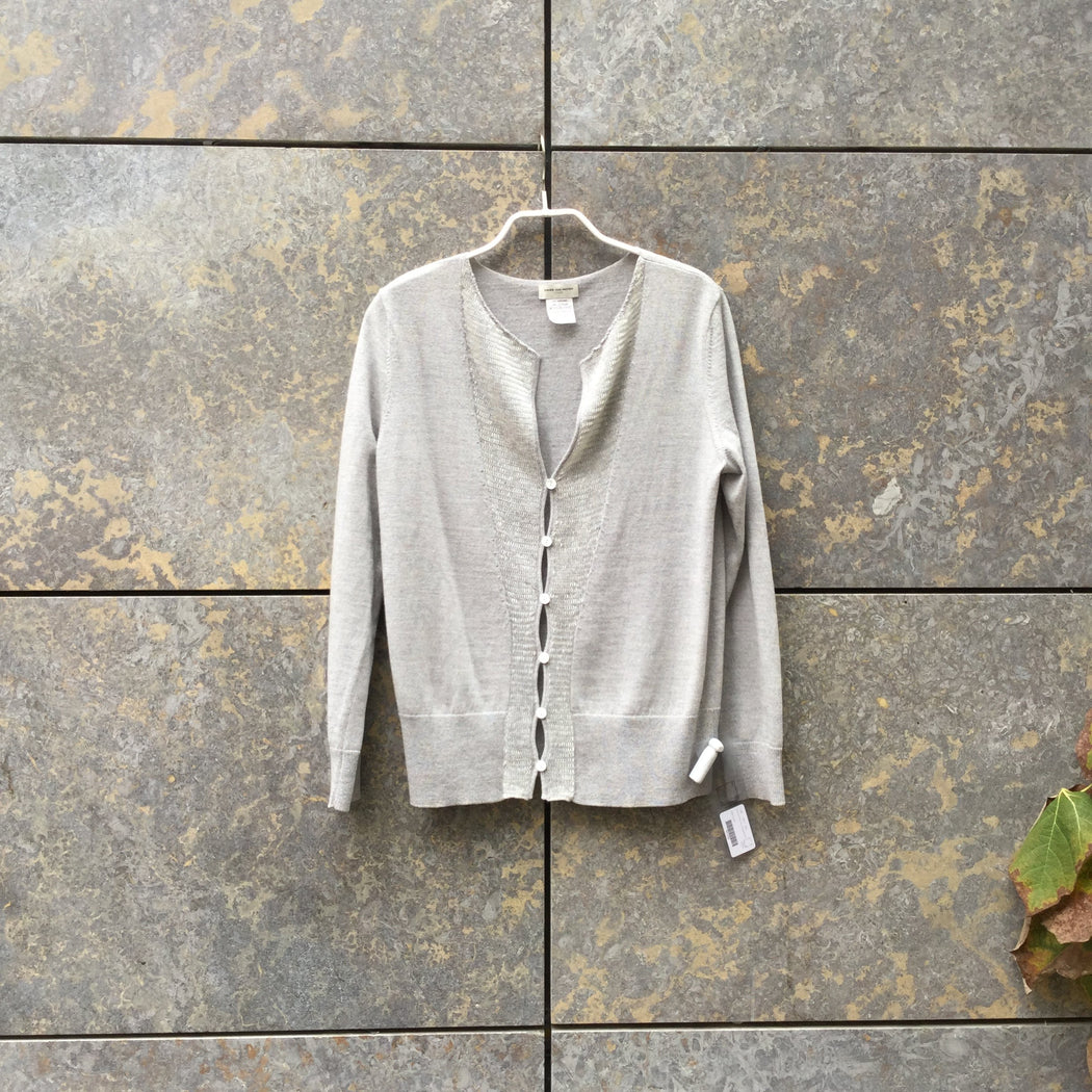Light Gray Wool Mix Dries van Noten Cardigan Sequened Size S/M