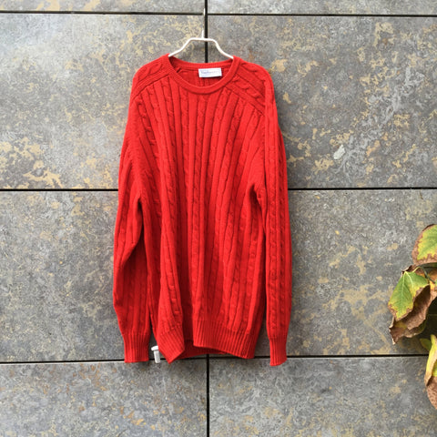 Red Cotton Burberry Sweater  Size Xl