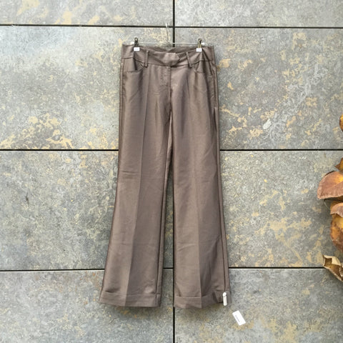 Beige Rayon Mix Vintage Trousers Wide Leg Size 30/31