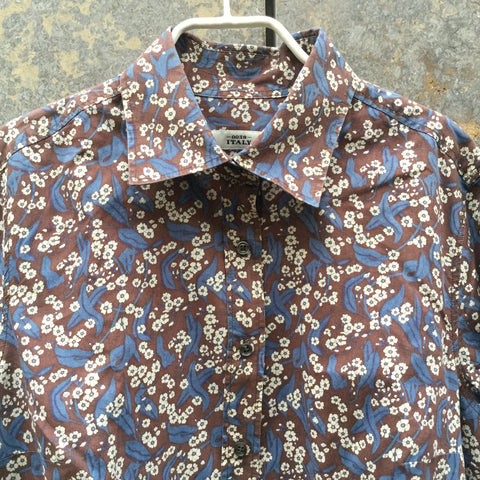 Brown-Blue Cotton Contemporary Shirt  Size L/Xl