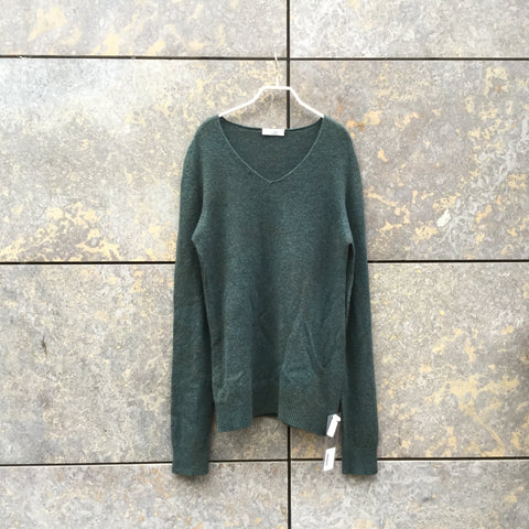 Moss Green Wool Wolfen Sweater V-Neck Size L