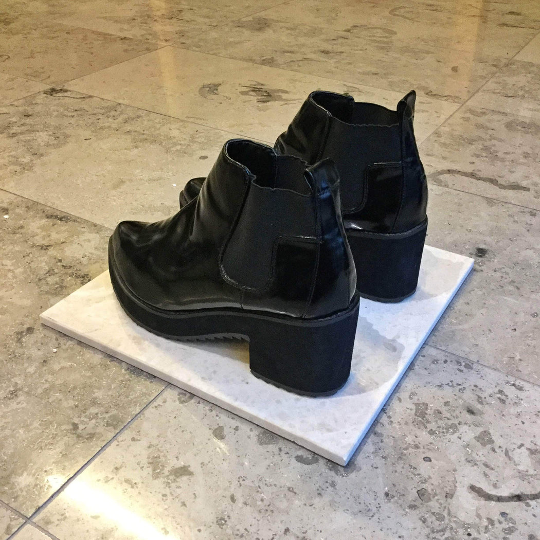 Contemporary Main Ankle Boots Black Faux Nappa Contemporary Main Ankle Boots  Size 8