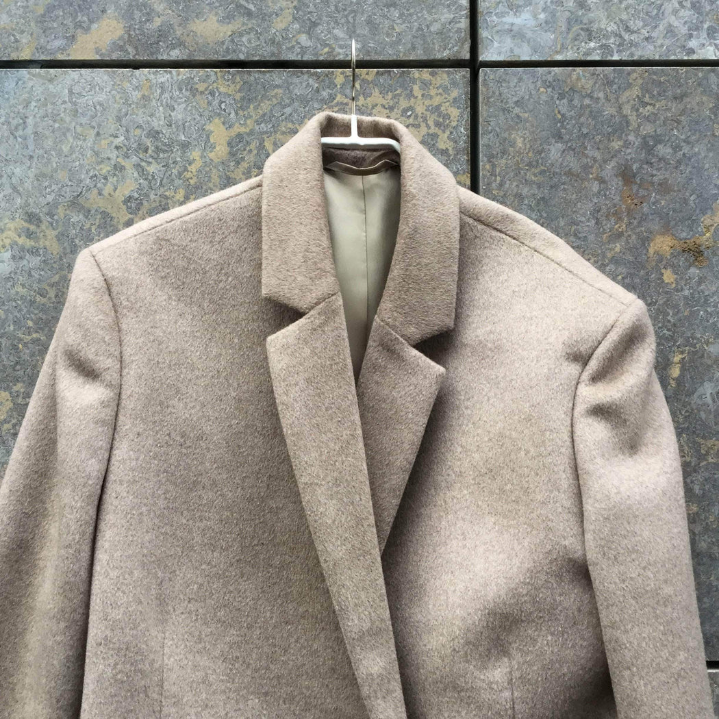 Contemporary Main Coat Beige Brown Wool Contemporary Main Coat  Size Xl