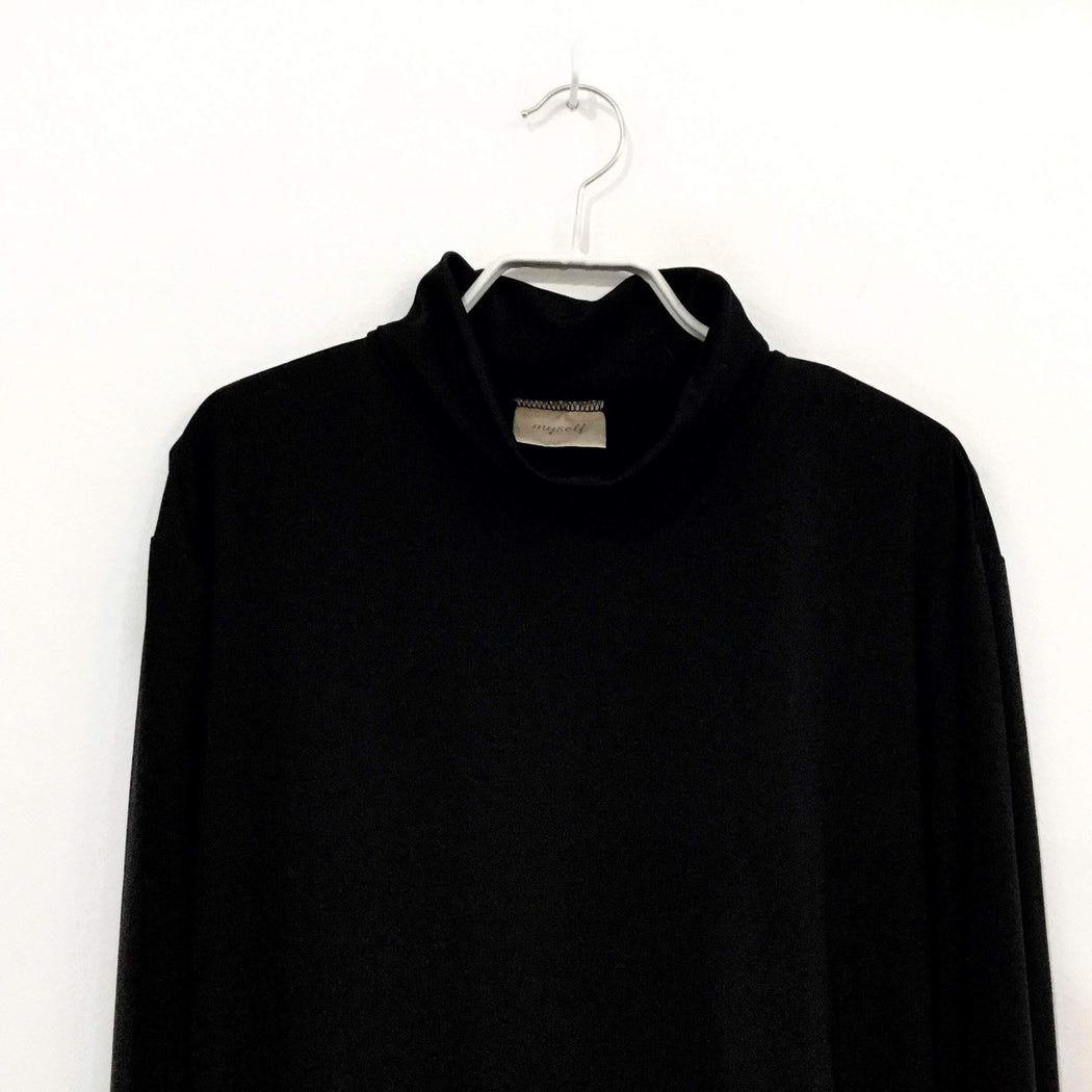 Contemporary Main Turtle Neck Black Polyester Modern Contemporary Main Turtle Neck  Size M