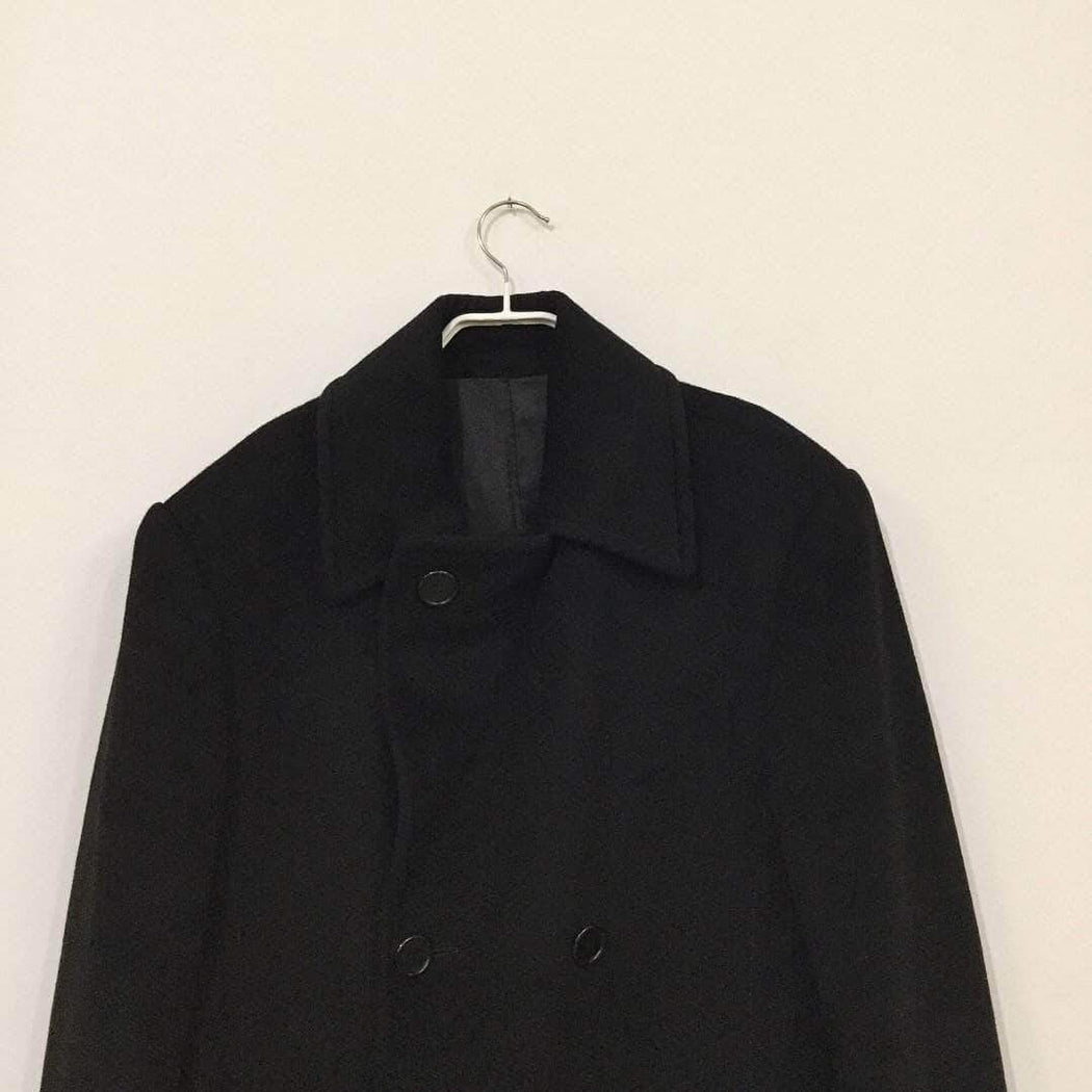 Contemporary Peacoat Black Cashmere Mix Contemporary Peacoat  Size L