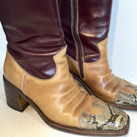 Wine-Mustard Leather Vintage Cowboy Boots Fat Heel Size 37