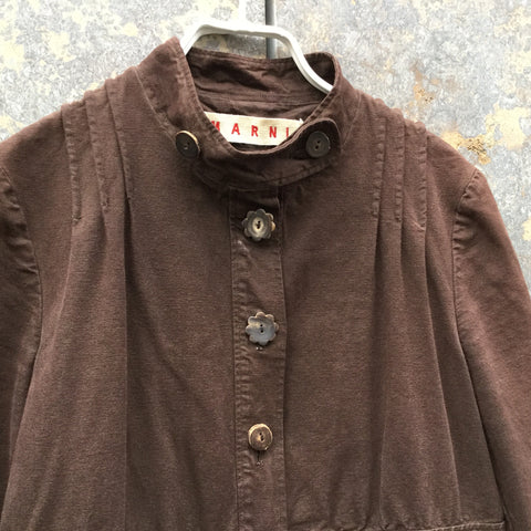 Chocolate Cotton Marni Light Coat Mandarin Collar Size Xl/Xxl