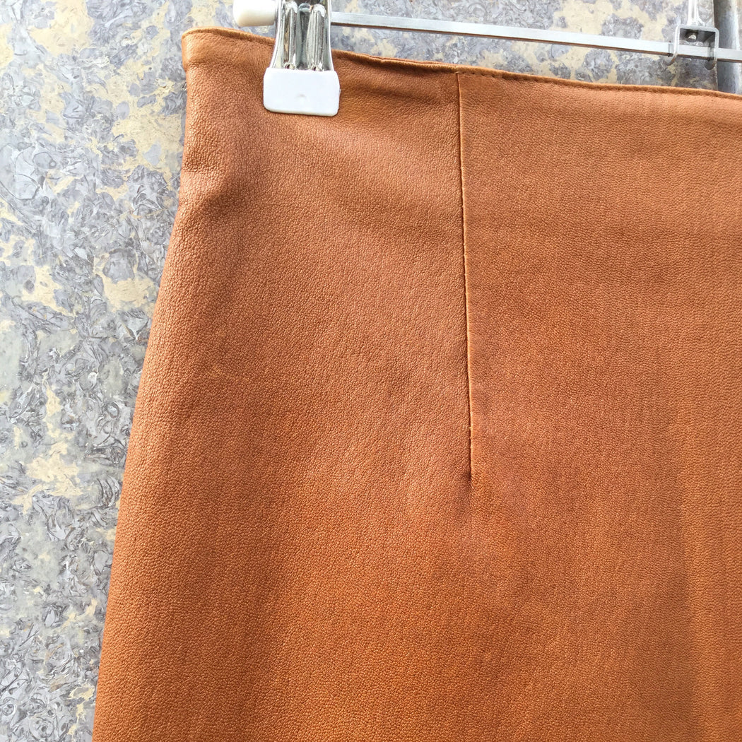 Tan Leather Contemporary Pencil Skirt High Waist Size 28/29