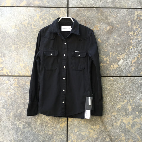 Black Cotton Calvin Klein Shirt Button Through Pocket Detail Size XS/S