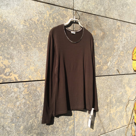 Brown Cotton Mix Joop! Top long sleeve Ringer Collar Size M/L