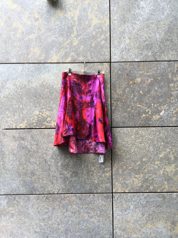 Colorful Silk Contemporary Midi Skirt High Low Size 26/27