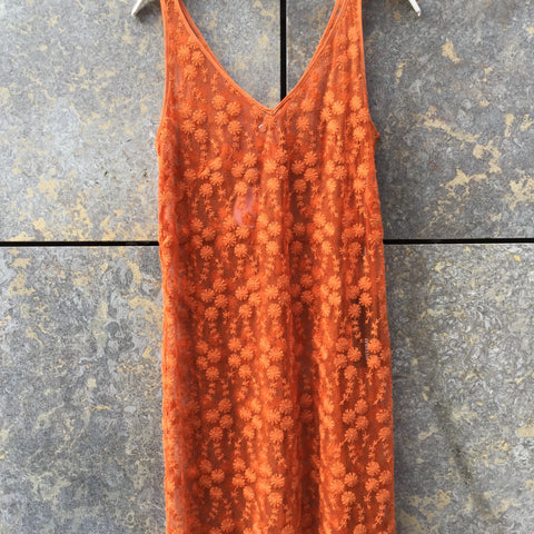Orange Cotton / Poly Mix Weekday Layer Dress Embroidered Mesh Size XS/S
