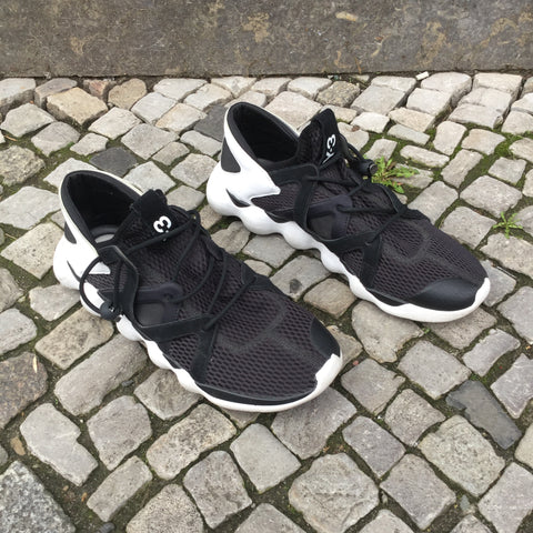 Black-White Leather / Acrylic Mix Y-3 Sneakers  Size 11.5