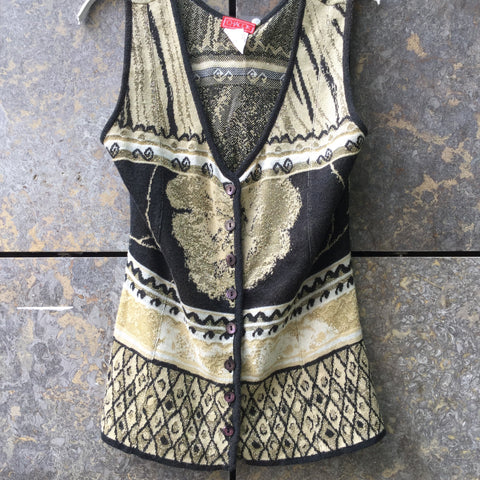 Black-Gold Cotton / Rayon Mix Vintage Sweater Vest V-neck Size S/M