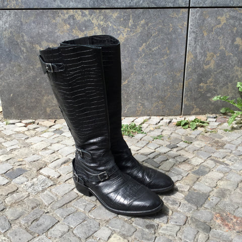 Black Leather Belstaff Boots Buckled Size 9.5