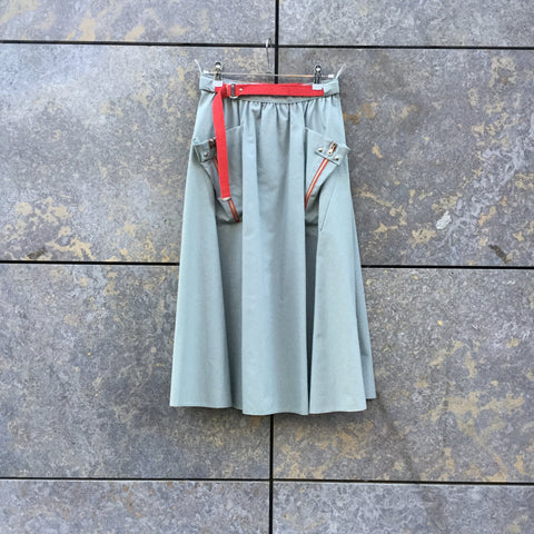 Grey-Red Cotton Vintage Maxi Skirt Zippered Pocket Detail Size 25/26