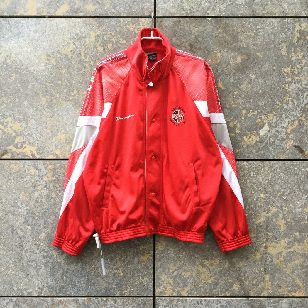 Red-White Synthetic Champion Varsity Jacket Mesh Size M/L