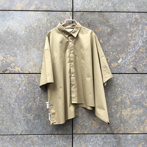 Khaki Cotton JieDa Shirt short sleeve Conceptual Detail Asymetric Oversized Size M/L